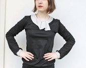Shirt Emilia schwarz weiß  t-shirt  blouse black white jersey longsleeve collar
