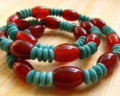 Turquoise and Red Agate Necklace : blue turquoise red agate gemstone beaded necklace
