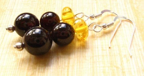 Garnet Earrings with Amber: garnet earrings, amber earrings, silver earrings, drop earrings, dangle earrings