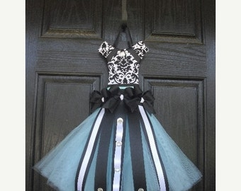 Black and White Damask Tutu Hair Bow Holder--You Choose Your Tulle Skirt Color--Perfect For Nurseries, Bedrooms, and Bathrooms