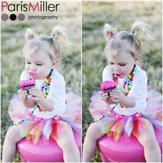 You Choose Your Colors--Infant to 2T SEWN Tutu with your choice of either tied bow or flower clip--Great for portraits, dress up, and pretend play