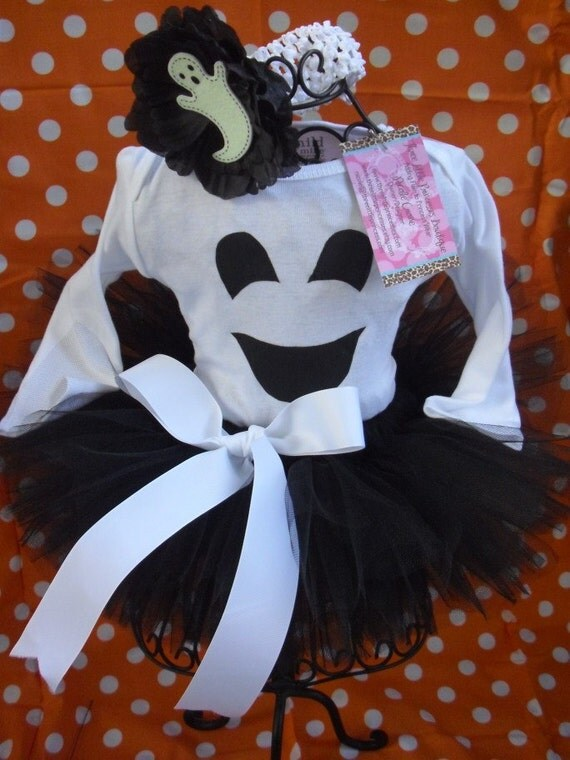 Too Cute To Spook Ghost 2 Piece Sewn Tutu Set--Size 0-3 months Ready to Ship