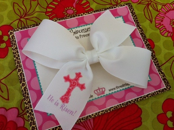 He is Risen 4 Inch Bow Prints Half Pinwheel Hair Bow--Ready to Ship
