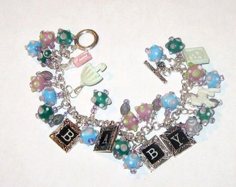 New Baby Altered Art Charm Bracelet in Pastels SALE