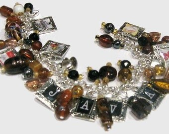 Coffee Lovers Altered Art Charm Bracelet SALE