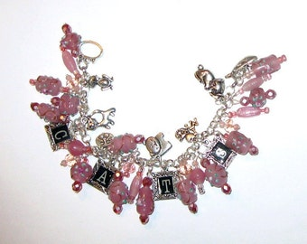 Cats Altered Art Charm Bracelet in Pink