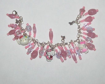 Kitty Art Charm Bracelet in Pink SALE