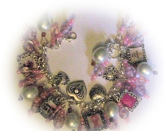 Breast Cancer Awareness Altered Art Charm  Bracelet in Pink and White SALE