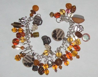 It's Time for Coffee Altered Art Charm Bracelet SALE
