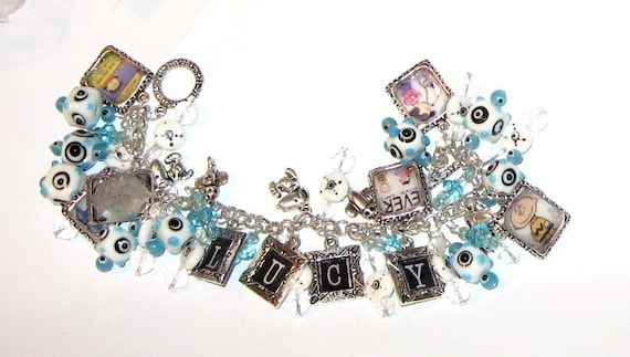 Lucy, Snoopy, and Charlie Brown Altered Art Charm Bracelet