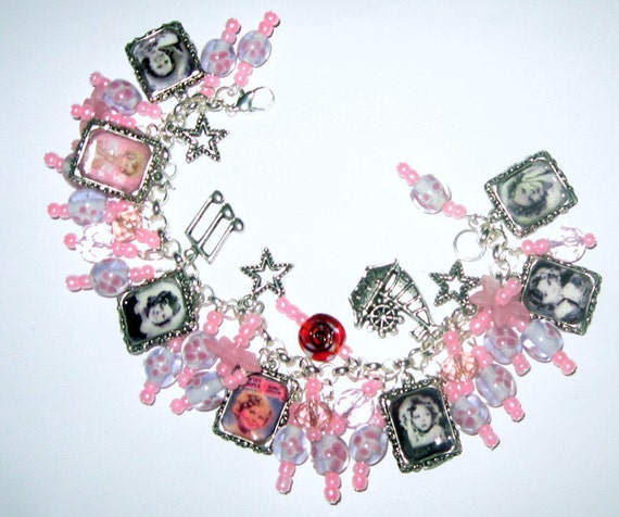 Shirley Temple Altered Art Charm Bracelet in Pinks