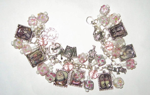 Alice in Wonderland Through the Looking Glass Altered Art Charm Bracelet