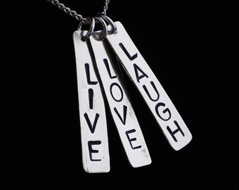 LIVE LOVE LAUGH Sterling Silver Hand Stamped Word Charms