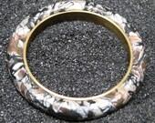 Mokume Gane Brass and Polymer Clay Bangle Bracelet