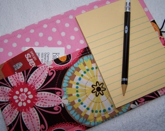Mini List Taker, Organizer, Coupon Holder, Carnival Bloom by Michael Miller, Notepad And Pen/Pencil Included