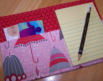 Mini List Taker, Organizer, Coupon Holder, Rainy Days Retro Umbrellas, Notepad And Pen/Pencil Included