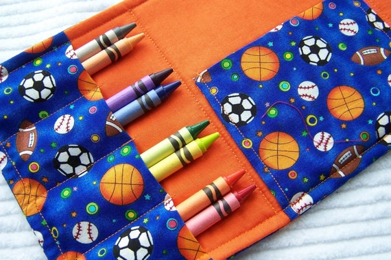 25% OFF SALE Coloring Wallet - Blue Sports Balls, Crayons and Paper Included