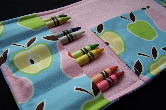 Coloring Wallet - Alexander Henry Apples and Pears, Crayons and Paper Included