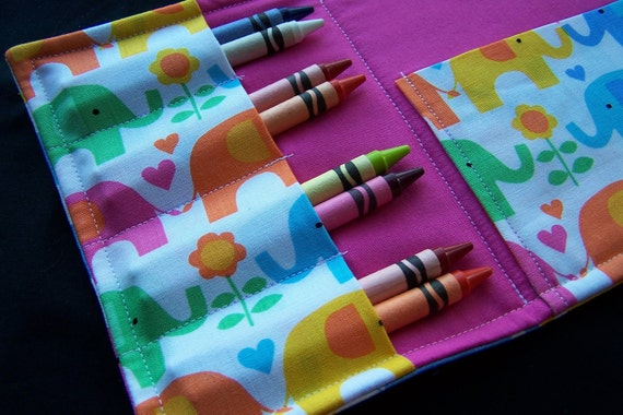 Coloring Wallet - Elephants on Parade by Timeless Treasures, Crayons and Paper Included