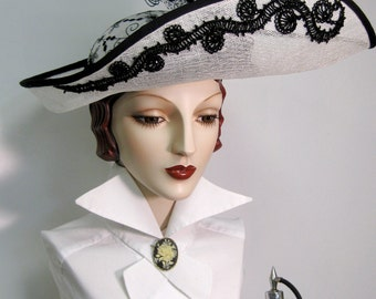 Black and White Asymmetrcical Edwardian Inspired Hat