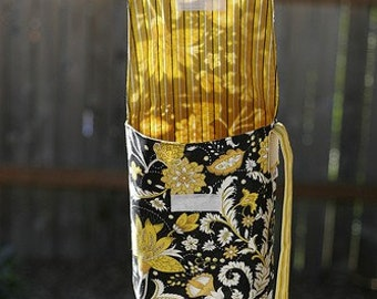 Diaper and Wipes Wristlet in Black and Yellow