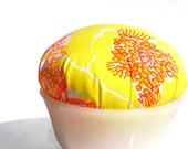 Lilly Pulitzer Vintage Fabric Lilly Pulitzer Pin Cushion Pincushion Tangerine Yellow Orange