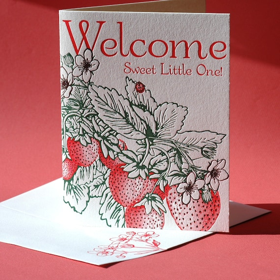 Strawberry Welcome Baby Card, Birthday Card, and Blank Note Card