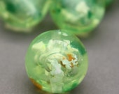 6 Vintage Green Confetti Lucite Marble Round Beads 15mm