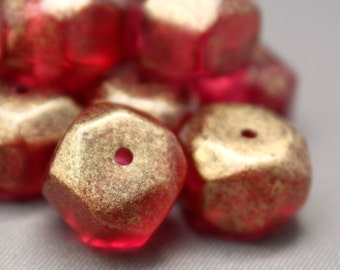 Vintage Pink Raspberry Lucite Nugget Beads Gold Finish 13mm (12)