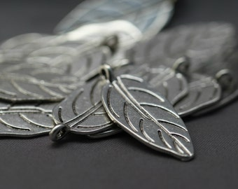 Silver Leaf Pendant Beads Drops Silver Leaf Charms 31mm (12)