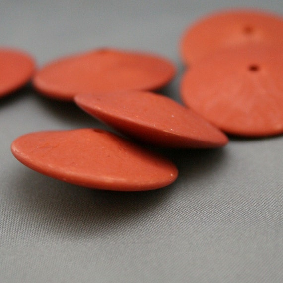 6 Vintage Opaque Rust Carnelian Lucite Spacer Beads  25mm