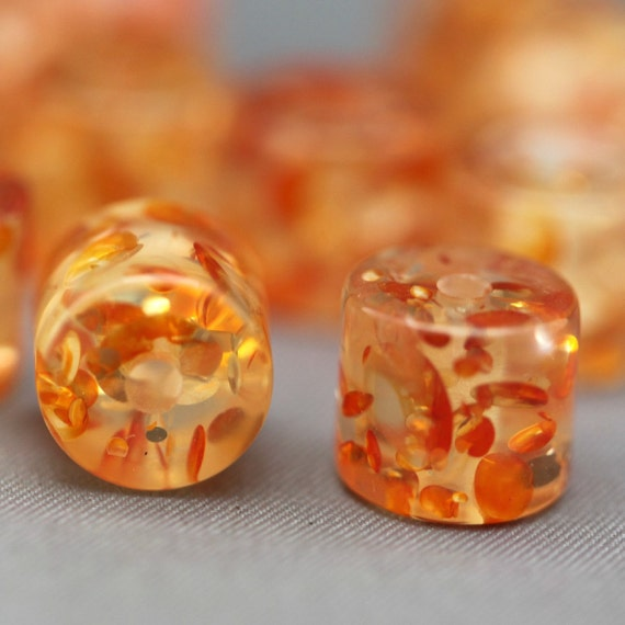 12 Crystal Orange Confetti Resin Barrel Tube Beads 11mm
