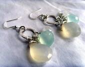 Winter Morning Earrings - Lemonade Chalcedony, Aqua Chalcedony, Rainbow Moonstone and Sterling Silver