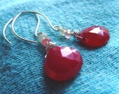 Cherry Drops Earrings - Red Chalcedony, Sapphire and Sterling Silver