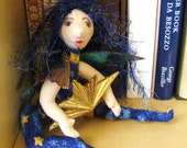 ooak cloth art doll, Aster the star fairy