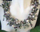 five strand pearl and gemstone necklace , Exaltation