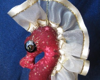 ooak, seahorse cloth art doll, ornament Kahoku