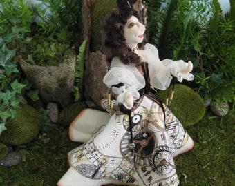 original steampunk inspired fae art doll, Inas