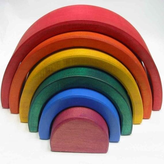 Wooden Stacking Nesting Rainbow  Blocks