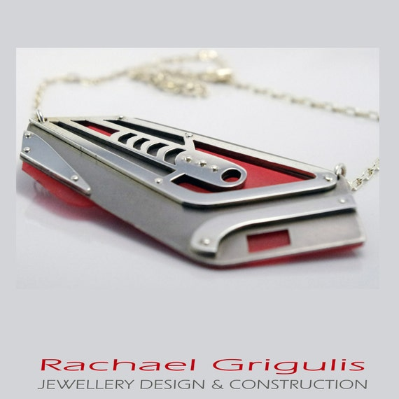 Hot Rod Inspired Layered Neckpiece in Red/Grey/Silver .... OOAK...
