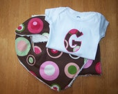 Pink and Brown Dot Bib, Burpie and Initial Applique Onesie