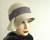 Gray wool velour cloche hat with pleated brim