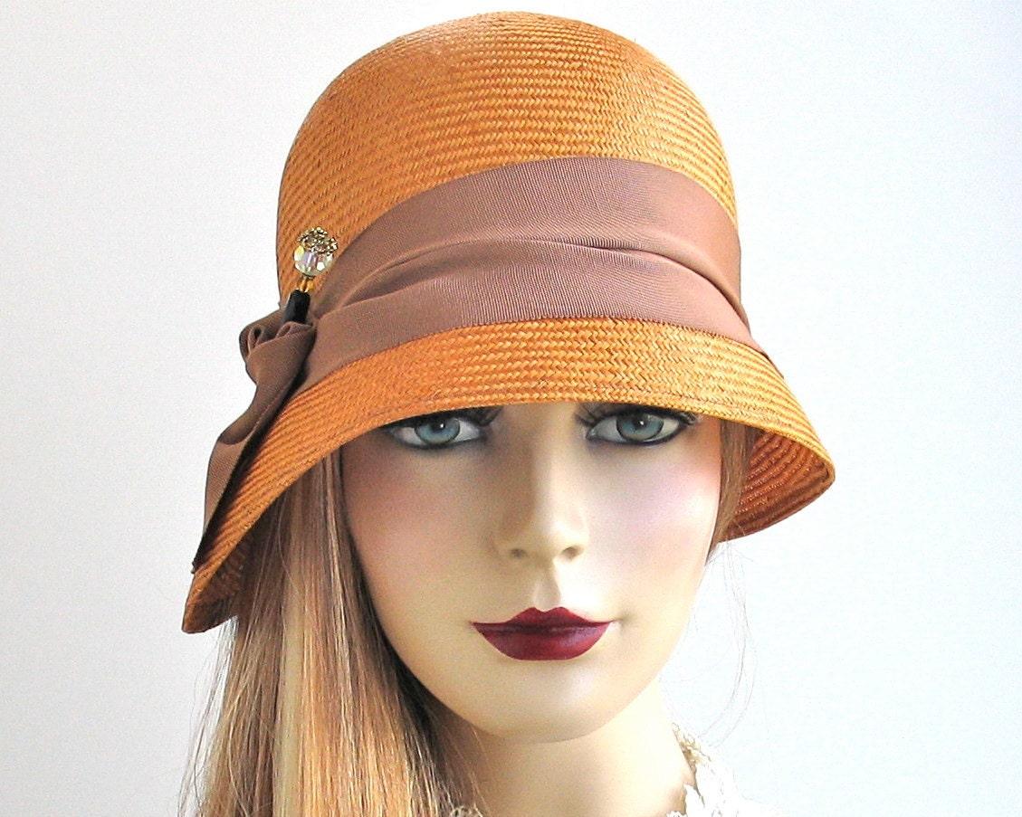 Straw Cloche Hat Women's Hat Flapper Hat 1920s by KatarinaHats