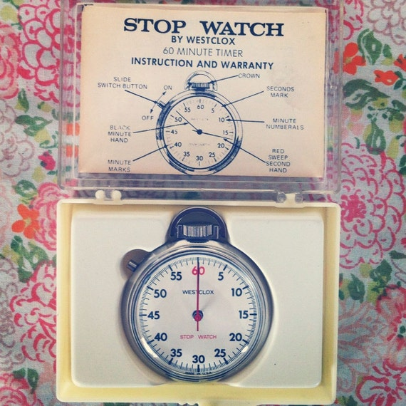 Vintage Westclox Chrome Stop Watch 1960s 60 min timer