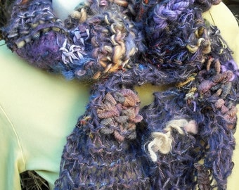 Primarily Purple Hand Knit Art Scarf with Hand Spun Yarn and Fabric - OOAK