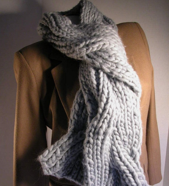 Hand Knit Pale Blue Chunky Wool Cable Scarf