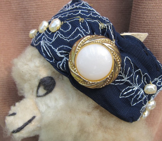 Navy Blue Embroidered Fabric Bracelet with Vintage Costume Jewelry Embellishments