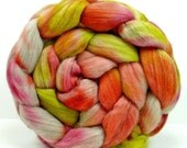 Hand Painted Wool Roving Merino Combed Top Spinning or Felting Fiber - 4.2 oz - MATCHPOINT