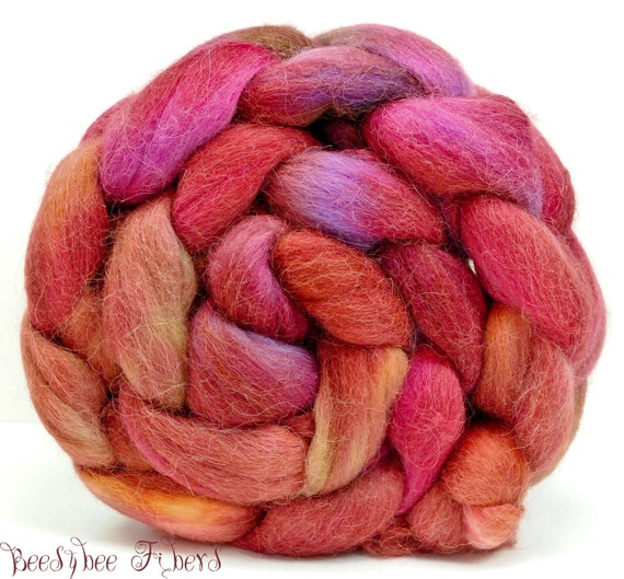 Hand Painted Roving Combed Top Spinning or Felting Fiber Alpaca - 4 oz - FLUTTERBY SWING