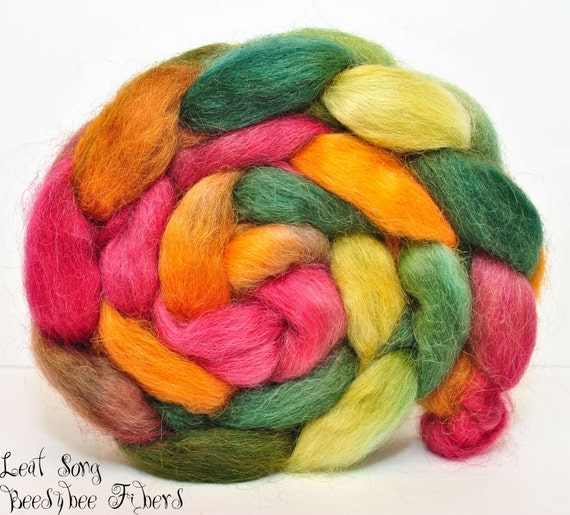 Wensleydale Hand Painted Wool Roving Combed Top Spinning or Felting Fiber - 4.1 oz - LEAF SONG